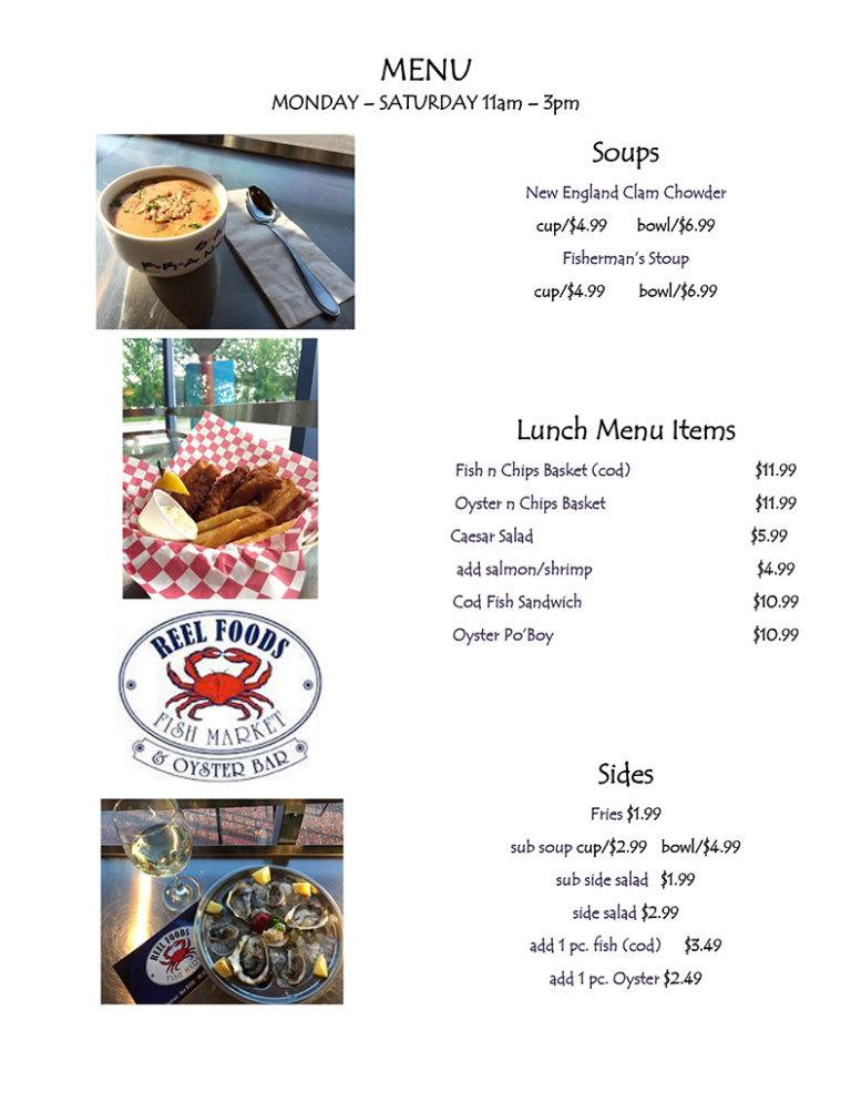 Reel Foods Fish Market Cooked Menu