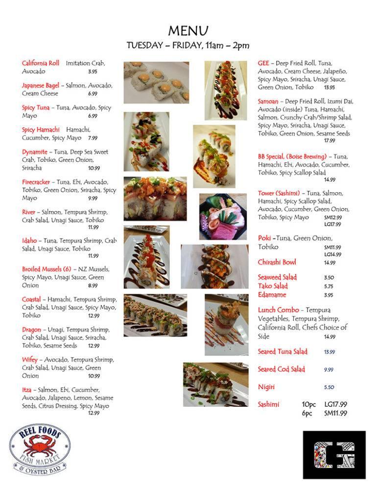 Reel Foods Fish Market Sushi Menu